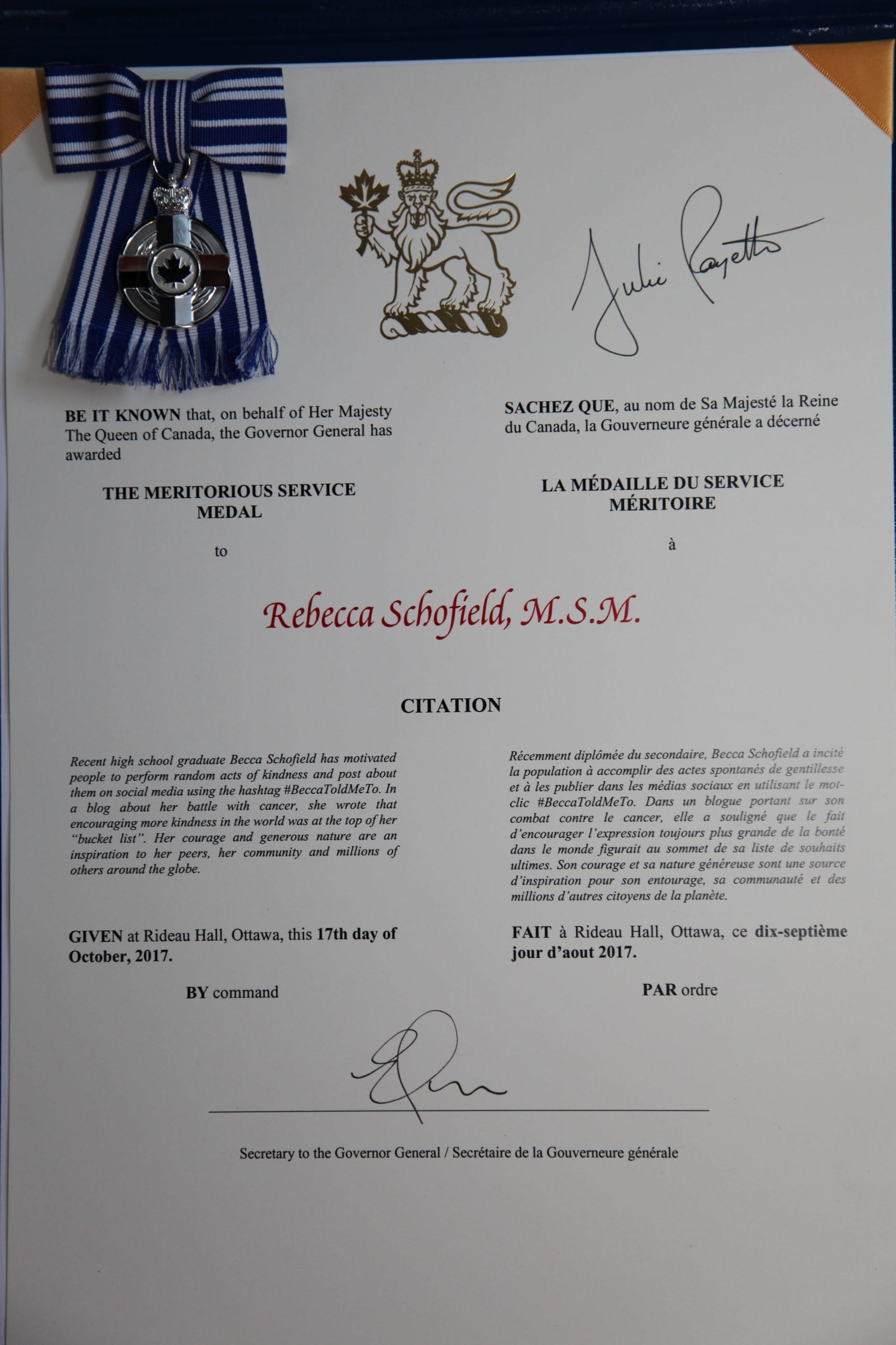 BeccaToldMeTo MSM certificate and medal